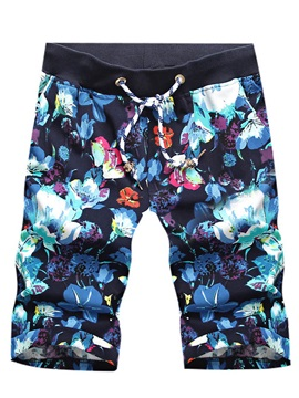 Floral Printed Lace Up Knee Length Mens Shorts