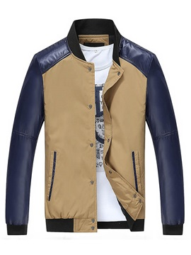 Color Block Peaked Lapel Mens Sports Jacket