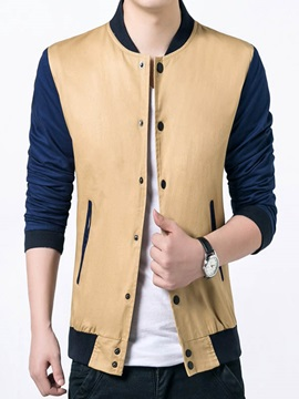 Color Block Peaked Lapel Mens Slim Fit Jacket