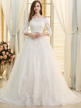 Chic Lace Off The Shoulder 3 4 Sleeves Wedding Dress