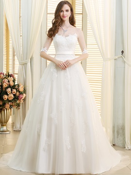 Lace Appliques Sheer Scoop Neck Half Sleeve Wedding Dress