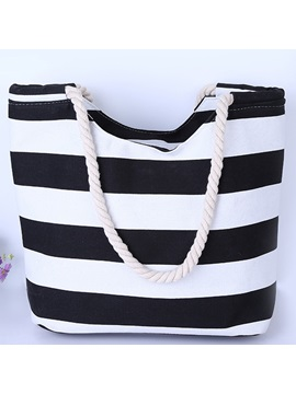 Elegant Canvas Stripe Print Women Tote Bag