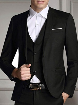 Solid Color Two Buttons Three Pieces Mens Suit