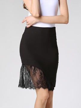 Solid Lace Patchwork Mini Skirt