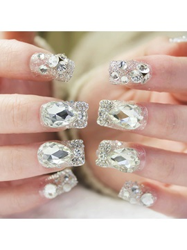 Rhinestone Short False Nails Patch