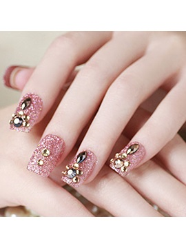 French Sweet Style Rhinestone Decoration False Nails