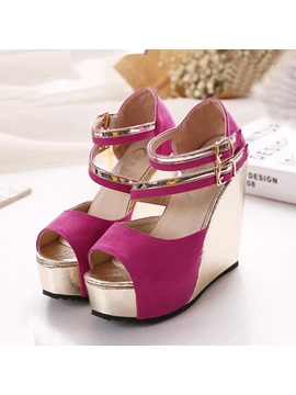 Sweet Color Block Peep Toe Wedge Sandals