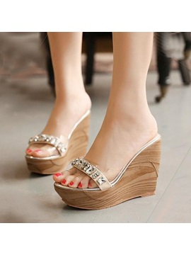 Rhinestone Wedge Heel Beach Sandals