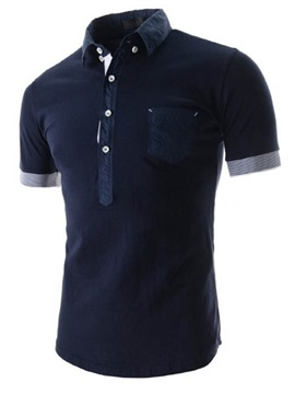 Buttons Design Short Sleeve Front Pocket Mens Polo