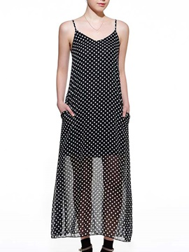 Polka Dots Backless V Neck Dress