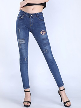 Slimming Frayed Curve Fit Pencil Jean