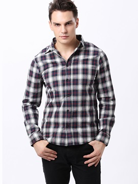 Colorful Plaid Single Breasted Mens Lapel Shirt