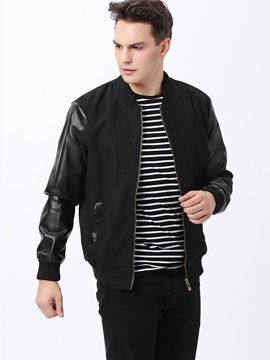 Solid Color Peaked Lapel Mens Pu Patched Jacket