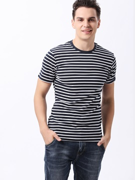 Cross Stripe Design Crew Neck Mens Tee