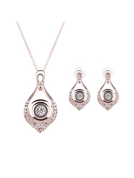Elegant With Rhinestones Women Jewelry Set Including Necklace And Earrings