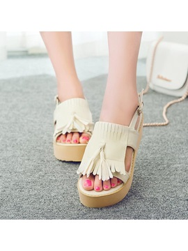 Pu Tassels Open Toe Flat Sandals