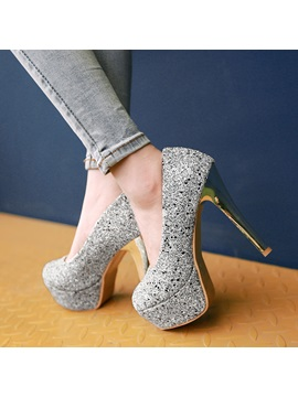 Sequins Slip On Platform Pumps