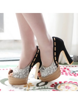 Pu Sequins Peep Toe Platform Pumps