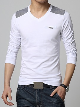 Color Block Slim Fit V Neck Mens Tee