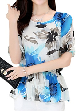 Stylish Floral Printed Chiffon Work Blouse
