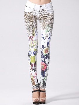 Slimming Mixed Print pencil Jean