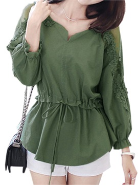 Chic Lace Decoration Sleeves Blouse