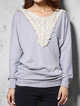 Chic Lace Decoration Collar Short T Shirt