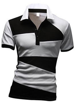Color Block Short Sleeve Lapel Mens Polo
