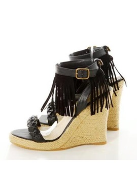 Pu Tassels Crochet Wedge Sandals