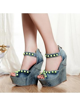 Denim Rivets Back Zip Wedge Sandals