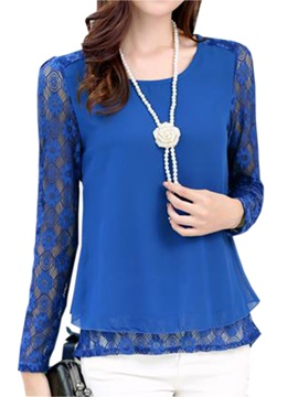 Stylish Back Lace Sleeves Slim Blouse