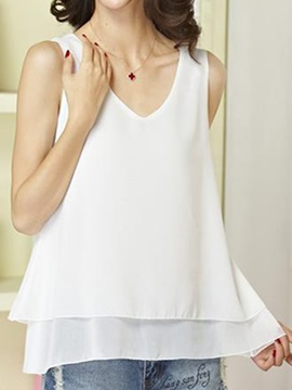 Stylish Double Layer Hem V Neck Tank Top