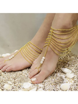 Multi Layer Tassel Pearls Women Anklet