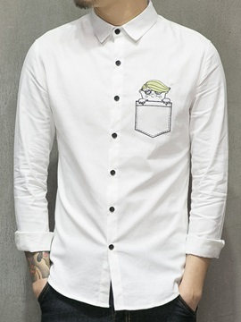 Cartoon Embroid Single Breasted Mens Casual Shirt