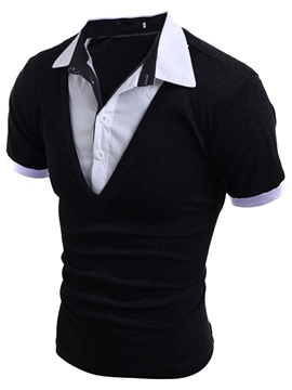 Faux Two Short Sleeve Mens Lapel Polo