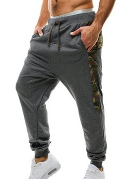 Camouflage Patched Lace Up Mens Sports Pants