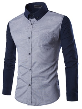 Color Block Chest Pocket Single Breasted Mens Shirt