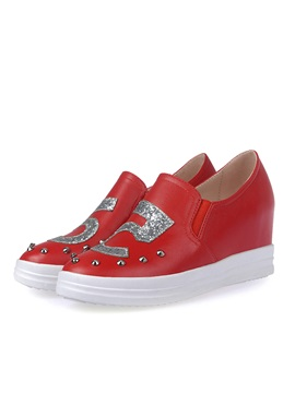 Sequins Rivets Elevator Heel Sneakers