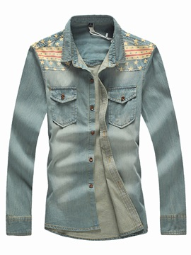 Front Pockets Shoulder Patched Mens Denim Shirt
