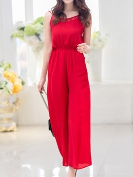 Vintage Pure Color Lace Trim Jumpsuit