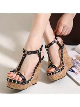 Pu Studded T Strap Wedge Sandals