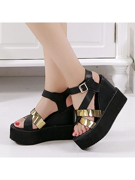 Pu Sequins Buckles Wedge Sandals