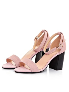 Suede Chunky Heel Ankle Strap Sandals