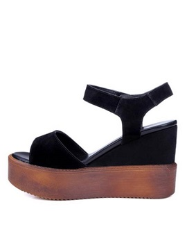 Black Pu Platform Wedge Sandals