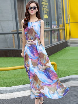 Chic Print Round Neck Sleeveless Day Dress