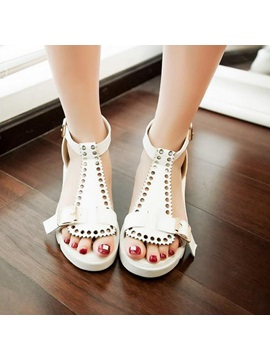 Pu Covering Heel Flat Sandals