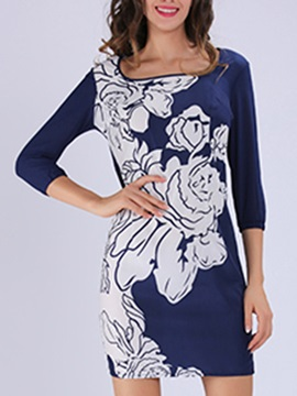 Floral Print 3 4 Sleeve Bodycon Dress