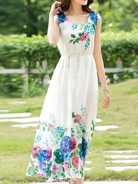 Floral Print Round Neck Sleeveless Day Dress