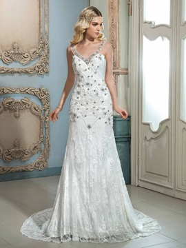 Glamorous V Neck Sleeveless Beaded Lace Mermaid Wedding Dress