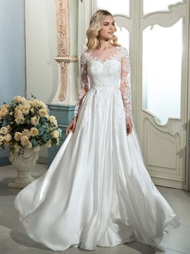 Scoop Neck Long Sleeves Appliques Sweep Brush Wedding Dress